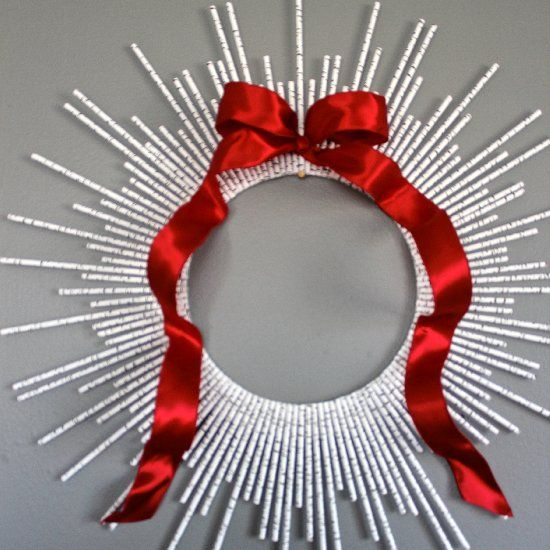 A paper straw sunburst wreath is an inexpensive and adorable way to decorate for a holiday, party, or shower!