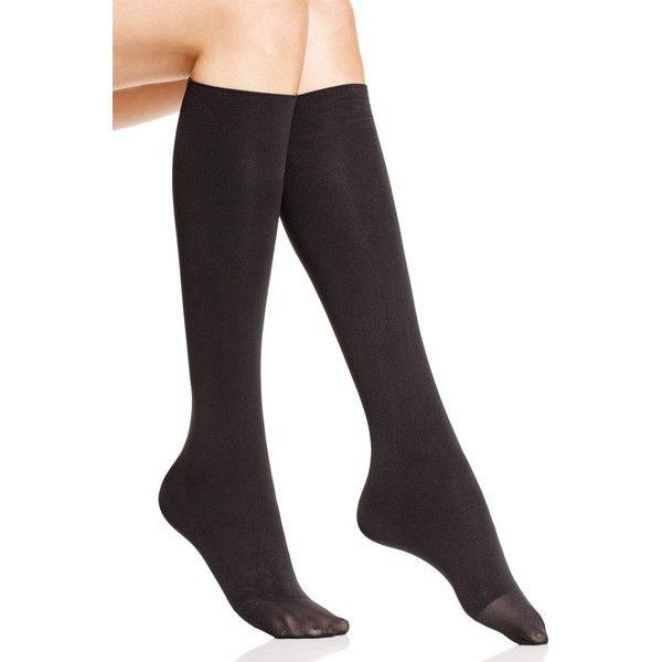 Hue Bandless Knee-High Socks ($7) ❤ liked on Polyvore featuring intimates, hosiery, socks, black, knee socks, knee-high socks, hue socks, hue hosiery and knee hi socks