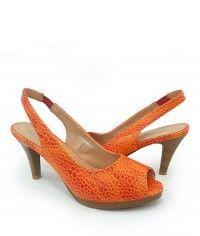 Habanero - Womens pebble-textured glossy orange wood-grain slingback peeptoe mid heels  $99.00  #shoeenvy #shoes #fashion #instalove #pretty #ethical #glamorous