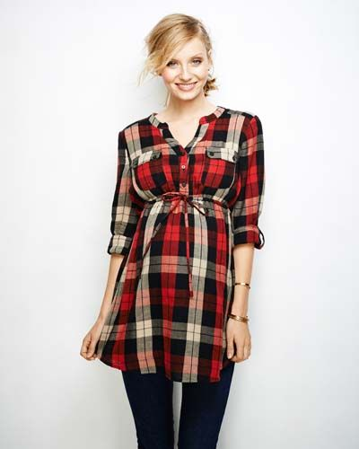 Convertible Sleeve Plaid Maternity Top
