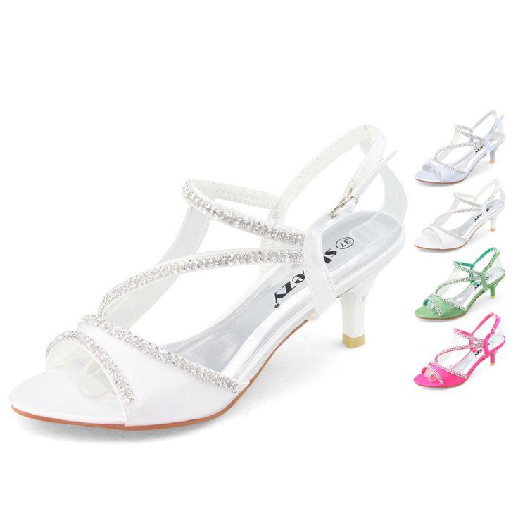 SHOEZY Brand White Low Heel Wedding Shoes Kitten Heels Sandals Silver Green Pink Dress Party