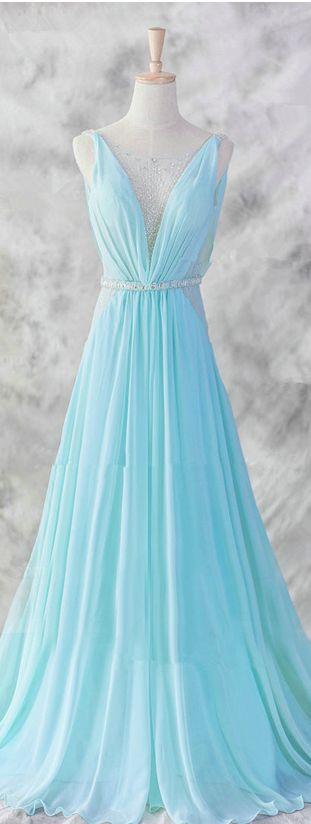Pretty Baby Blue Chiffon Floor Length V-Neckline Prom Gown  Baby Blue Evening Dresses Blue Formal Dresses Formal Dresses