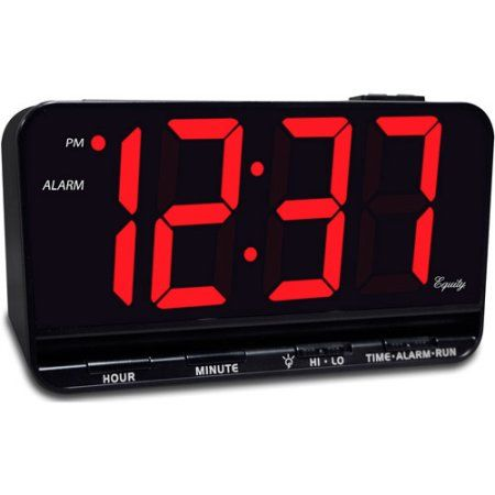 """Equity 3"""" LED Alarm Clock - simple alarm clock with red numerals"""