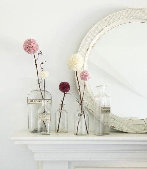 Flower poofs and vases: Decor, Ideas, Valentine Day Crafts, Pom Poms, Vintage Bottle, Pompom, Yarns Pom Pom, Old Bottle, Flower