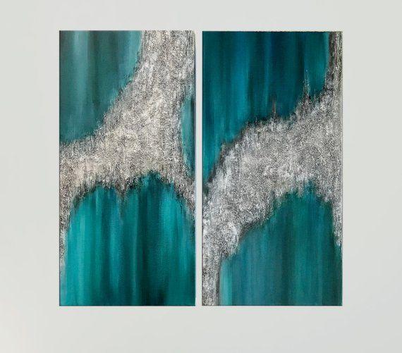 Teal Wall Art Silver Glitter Art Modern Abstract Art Canvas
