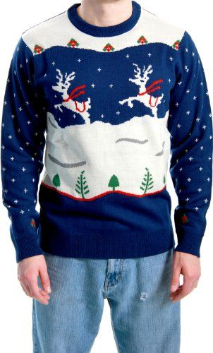 Ugly Christmas Sweater Step Brothers Dale Doback Prancing Reindeer Adult Navy Sweater for only $49.99 You save: $16.00 (24%) + Free Shipping