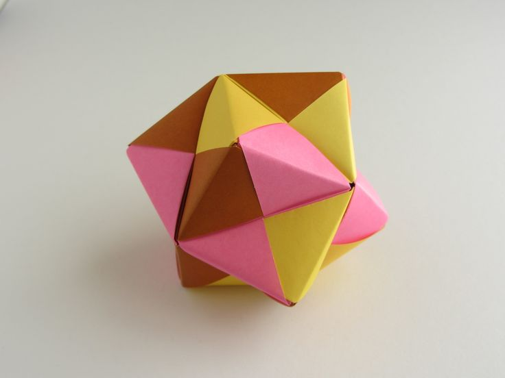 Origami Sonobe Octagon  (12 units) - join two identical pyramids to make halves, then join the halves  http://www.origami-instructions.com/origami-modular-octahedral.html  origami-instructions.com/origami-modular-octahedral.html