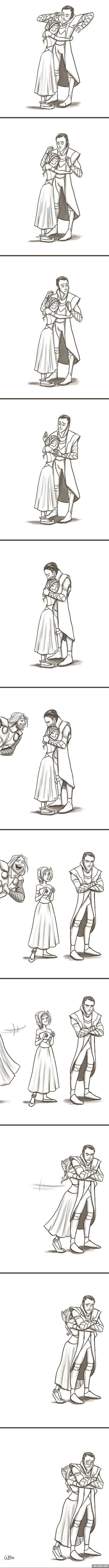 This is Sigyn. Loki's wife.... O.O ..... GODDAMMIT! THEY LOOK CUTE TOGETHER.... T.T