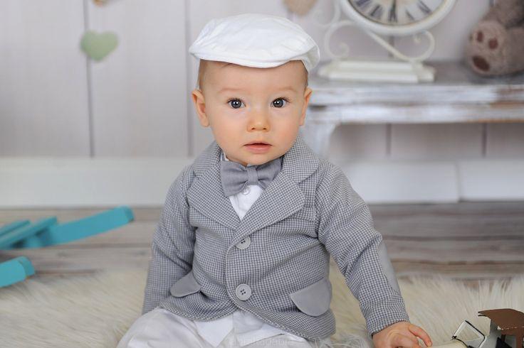 Komplet Franio z marynarką i białymi spodniami - Ubranka na chrzest - Abrakadabra Sklep