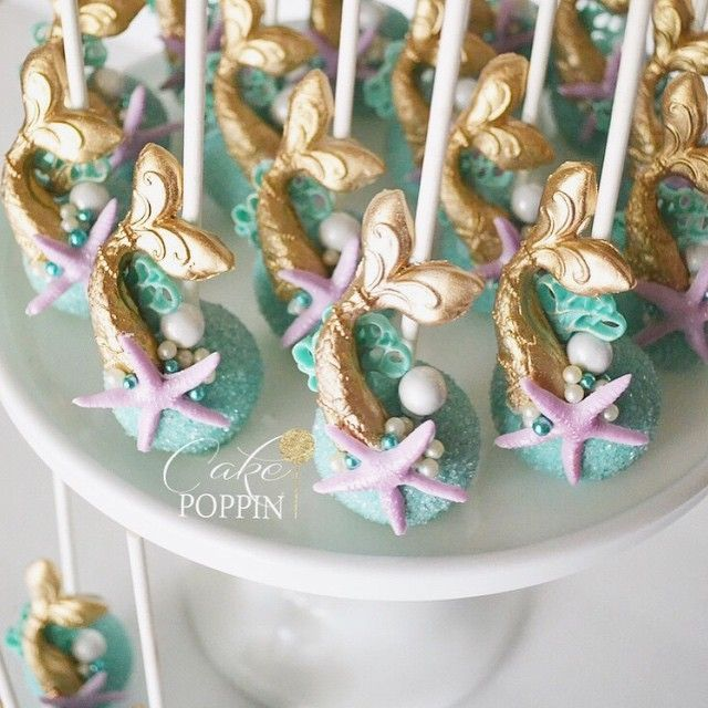 Instagram media cakepoppn - Under the sea mermaid cake pops made for @mammarellasweetstreats. This dessert table was GORGEOUS! Can't wait to share more pics