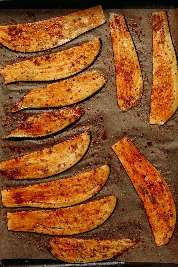 Crispy Eggplant BACON! Smoky, salty, peppery, SO delicious and easy to make! #vegan #plantbased #bacon #recipe #minimalistbaker