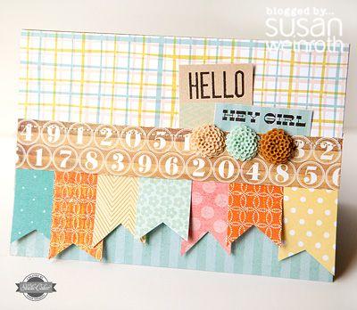 Susan Weinroth: Scrapbook Ideas, Cards Ideas, Banners Cards, Cards Scrapbook, Hello Cards, Paper Scrap, Paper Crafts, Scrapbook Cards Pap Crafts, Cards Studios