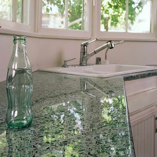 recycled glass countertop with glass bottle
