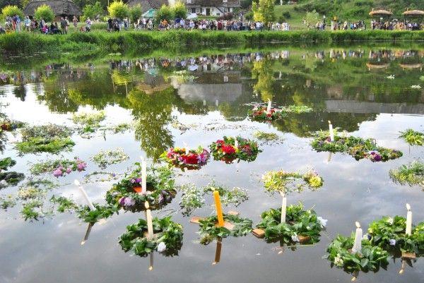 """""""wianki"""" on the river /  24th June festival in Poland"""