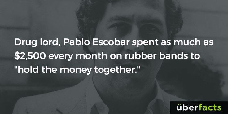 Drug Lord Pablo Escobar spent  as much as $2,500 every month on rubber bands  to hold the money together