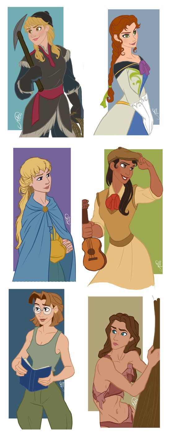 If Disney guys from Frozen, Hunchback, Princess and the Frog, Atlantis, and Tarzan were girls