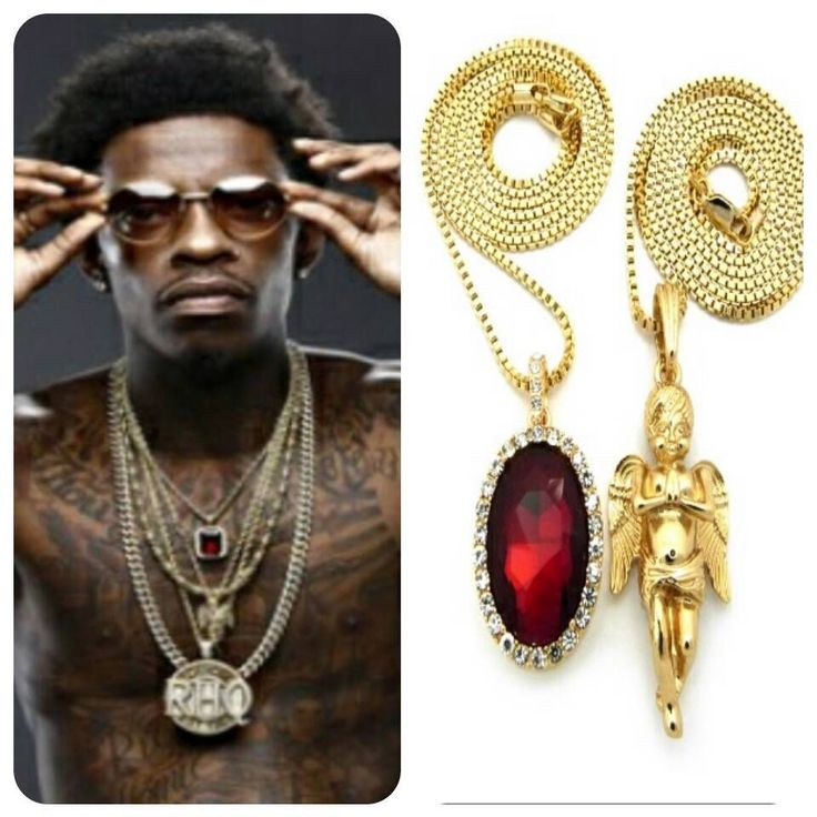 ICED RUBY PRAYING ANGEL PENDANT GOLD CHAIN NECKLACE HIPHOP RICH GANG BIRDMAN RD #Chain