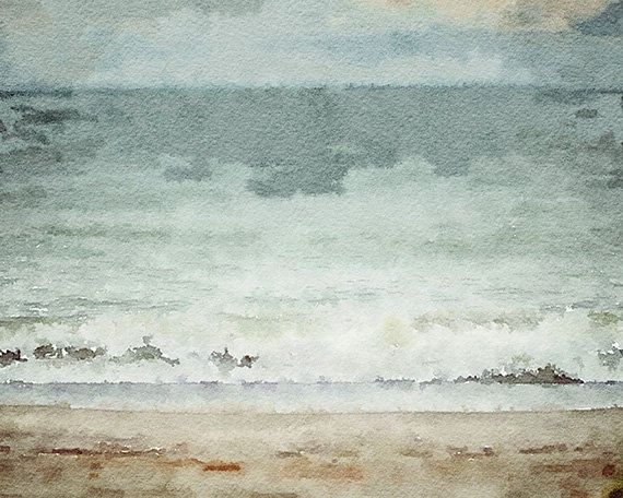 Beach Watercolor Landscape, Beach Decor, Beach Print, Pastel Blue Aqua Teal Beige White, Soft Watercolor Ocean Art, Dreamy Beach Wall Art. on Etsy, $30.00