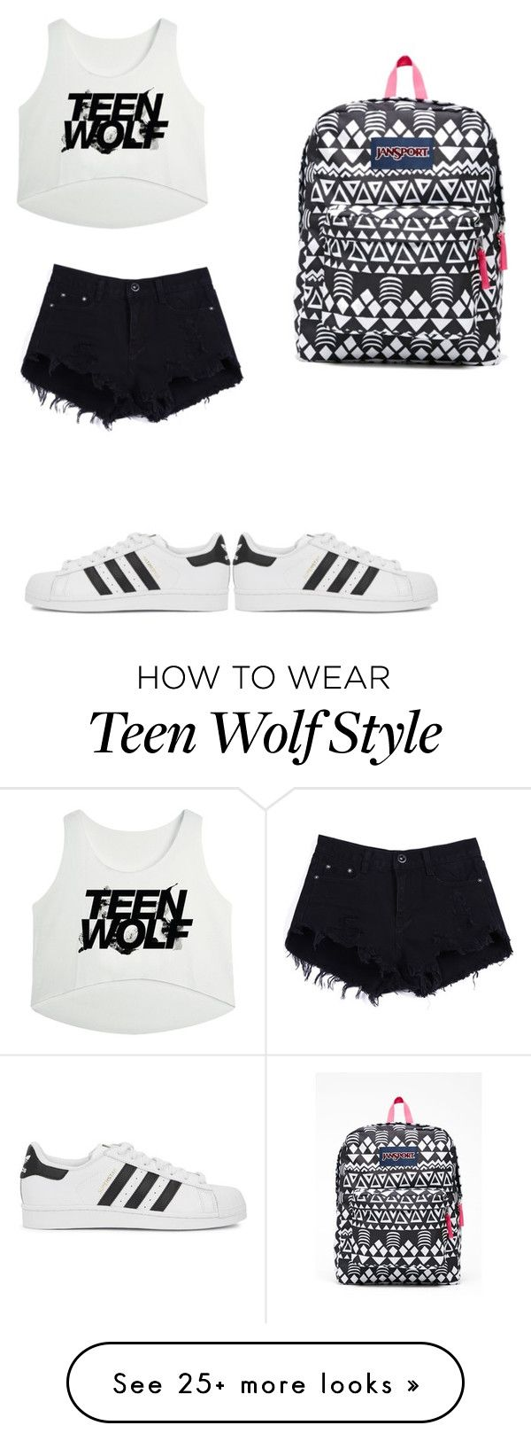 """Untitled #296"" by anna-diva-clara on Polyvore featuring mode, JanSport, adidas Originals, women's clothing, women, female, woman, misses en juniors"