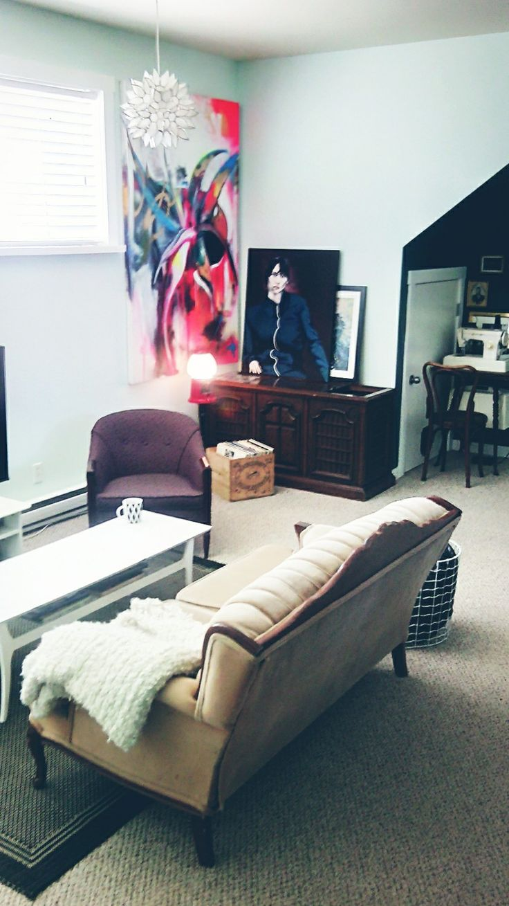 Eclectic space, snowbound by behr, mint living room, vintage couch, butter box