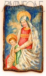 Icona dipinta su tavola in legno.Madonna con bambino A212(28x50)MA