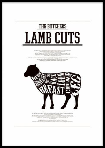 Poster till kök med styckningsschema på lamm, Lamb Cuts. Modern kökstavla. Svartvita affischer och prints till köket. Tavlor och posters med köksmotiv till köksinredning.