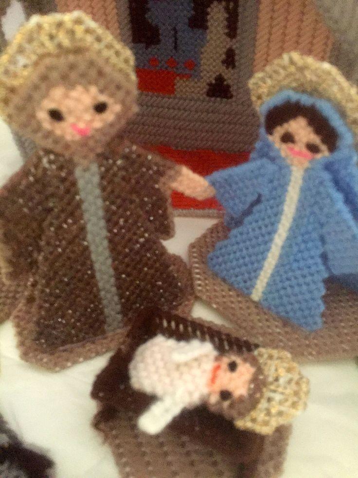 FREE SHIPPING, Needlepoint Christmas, Nativity Set, Retro Nativity Set, Handmade Nativity Set, Christmas Nativity, Nativity Characters by ChezShirlianne on Etsy