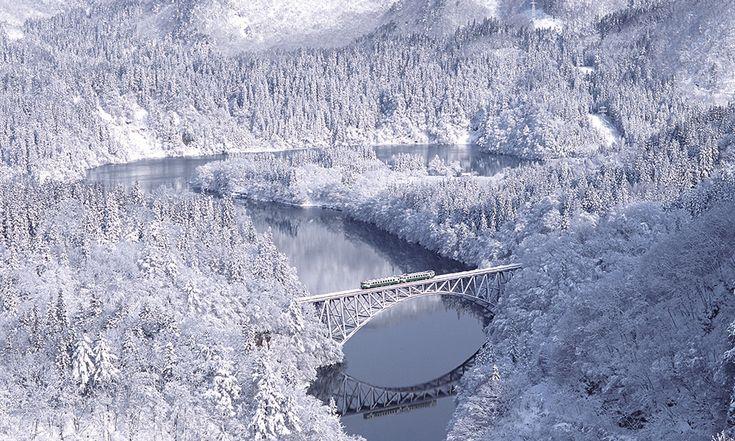 Travel a secluded region of Oku-Aizu on a beautiful local train line