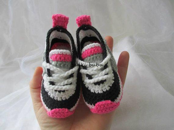 Crochet Sneakers Inspired by Nike , handmade , crocheted , swoosh , crocheted , baby , booties , shoes , baby nike , photo prop , sneakers