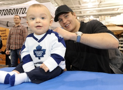 Luke Schenn with his youngest fan