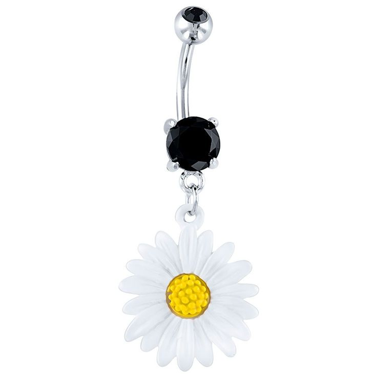 Daisy dangle belly button ring