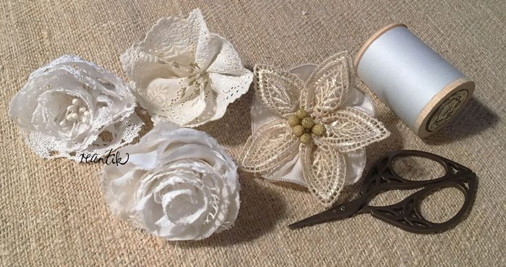 handmade flowers made from antique lace