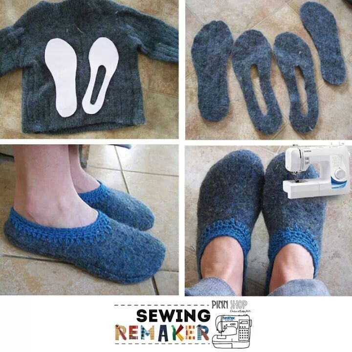 Remake sweater into slippers