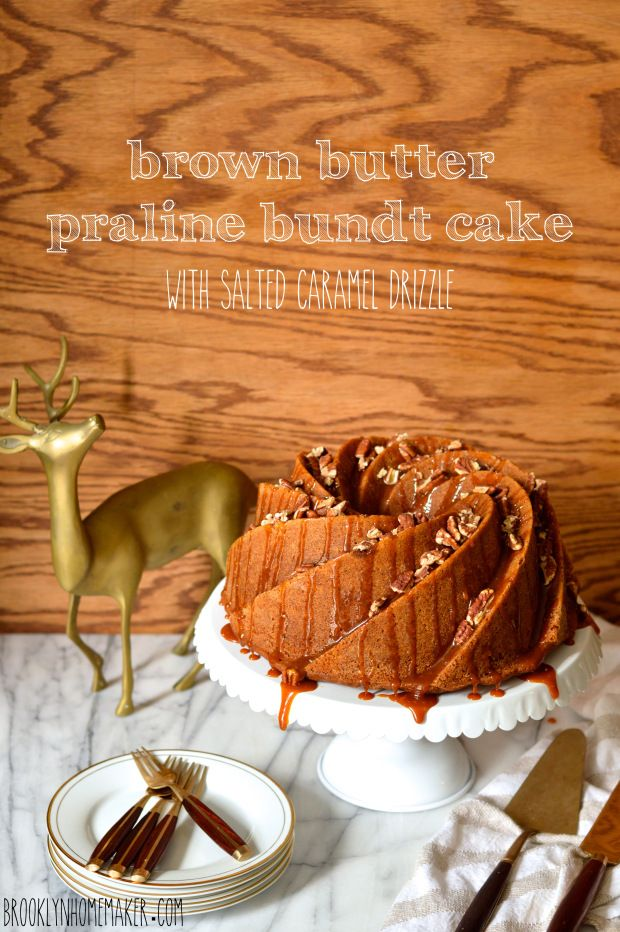 brown butter praline bundt cake with salted caramel drizzle #bundtbakers