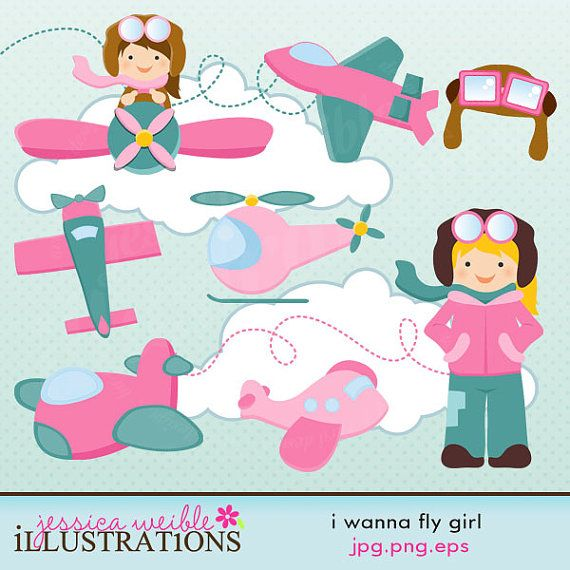 Fly high in the sky with this cute aviator graphic collection. This set comes with 13 graphics including: an aviator, a girl in a plane, 3