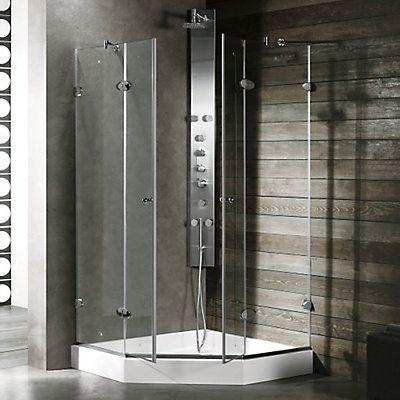 La paroi de douche sans cadre néo-angulaire avec bac VIGO transparente / en chrome apportera une touche daudace à votre salle de bain. Se référer au modèle numéro VG6063CHCL42W Fabriqué en acier inoxydable finition nickel brossé, avec la garantie à vie de VIGO de ne jamais rouiller.