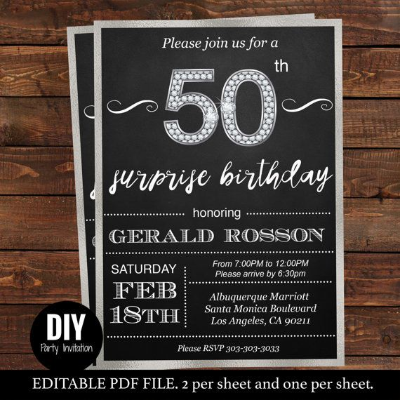 Surprise 50th birthday invitations for him by DIYPartyInvitation #partyideas #50thbirthday #surprise