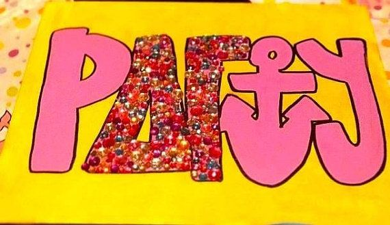 Rhinestoned Delta Gamma Party canvas painting by CraftDesignByJen, $35.00