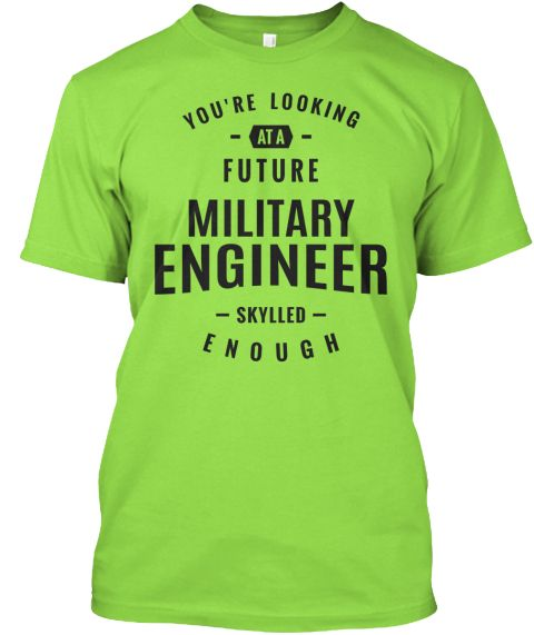 Military Engineer T Shirt Lime T-Shirt Front