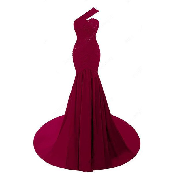 One Shoulder Chiffon Court Train Ruffles Red Trumpet Mermaid Long Prom... ($298) ❤ liked on Polyvore featuring dresses, red prom dresses, long purple dress, long cocktail dresses, prom dresses and one shoulder cocktail dress