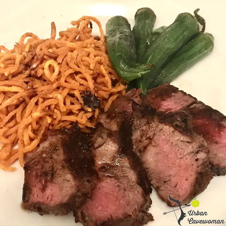 Steak with sweet potato noodles and oven baked okra. #paleo #primal #paleodiet #paleodinner #keto #lchf #lowcarb #whole30 #healthyfood #homecooking #healthyeating #glutenfree #grainfree #nomnom #nutfree #dairyfree #urbancavewoman #yummy #foodgasm #airfryer