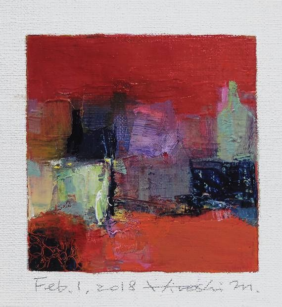 Feb. 1 2018 Original Abstract Oil Painting 9x9 painting