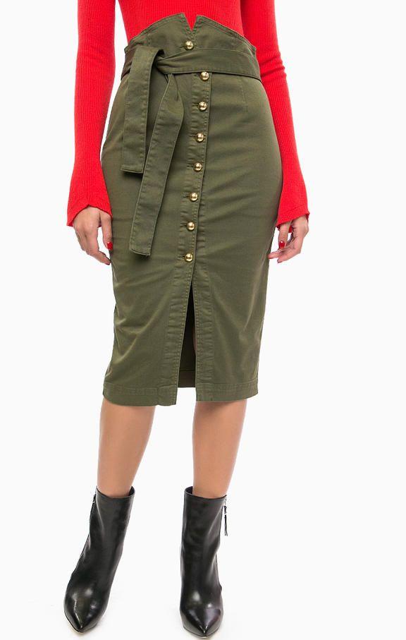 Юбка на пуговицах цвета хаки 1G12TC Y37F X22 юбка застегивается на пуговицы, фиксируется поясом на талии, длина для размера 40 (42) - 73 см, купить в интернет-магазине. Цена: 14990