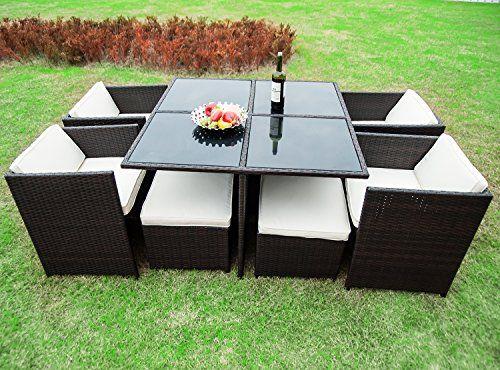 merax outdoor cube rattan garden furniture set wicker rattan desk and chairs brown best online shopping deals today in usa