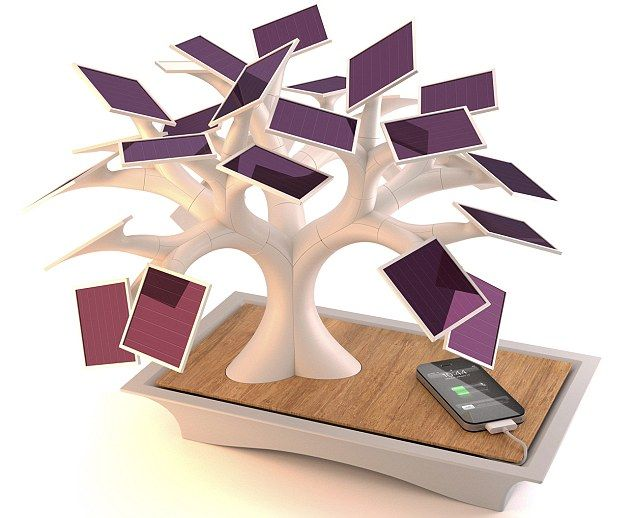 The £260 Electree charger uses solar panels to charge up devices such as iPhones - and will work on a windowsill