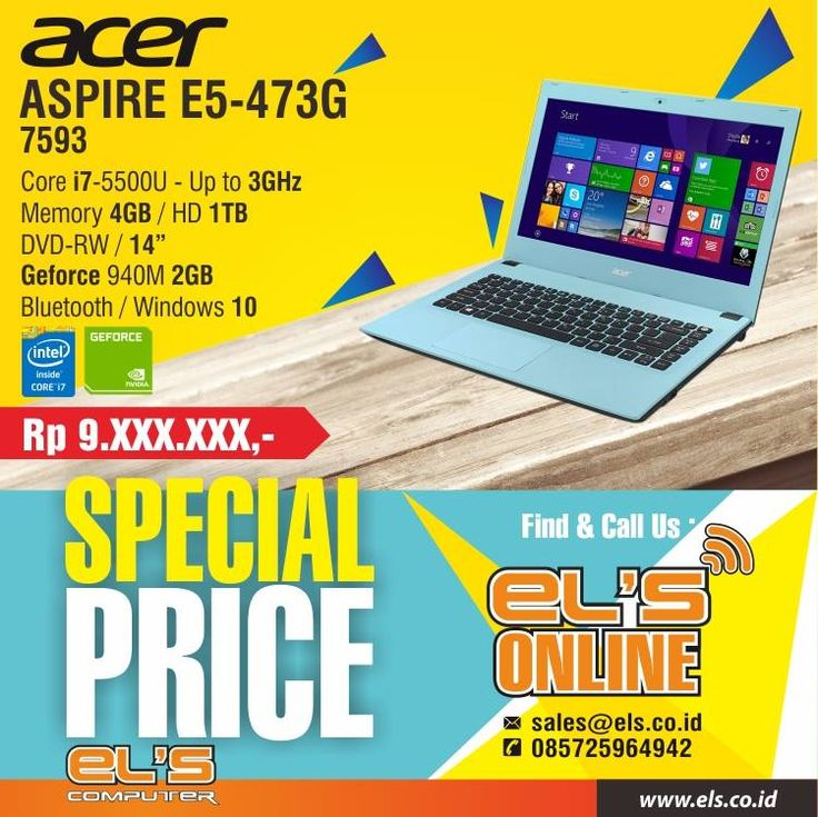 Tersedia produk Acer berbagai seri di Els Computer. Bisa order online via els.co.id #els #elscomputer #yogyakarta #solo #purwokerto  info --> www.els.id/ SMS/WA --> 085725964942 BBM PIN --> 56083D42 Email --> sales@els.co.id