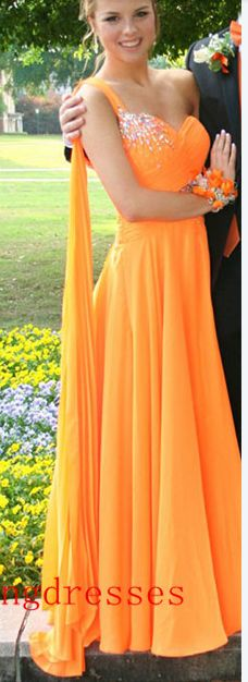 One Shoulder Long Chiffon Prom Dresses,Simple Cheap Beading Prom Dresses,Evening Dresses,Handmade Prom Dresses,Party Prom Dresses,Party Dresses,Sparkly Prom Dresses