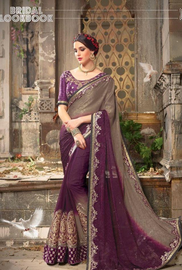 Purple designer party wear saree with blouse