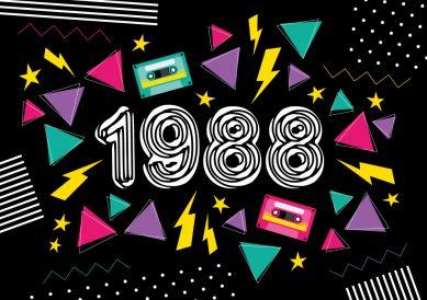 Coole Geburtstagseinladung in typischem 80er Jahre Look in grellen Farben und Zahl 1988 #80er #1988 #NewWave #Eighties #EinladungGeburtstag.de