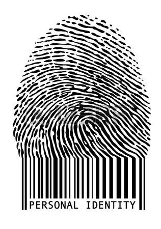 Identificación personal. Huella digital con código de barras. Foto de archivo.